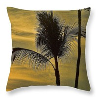 """Palm Trees Swaying Throw Pillow 14"""" x 14"""""""