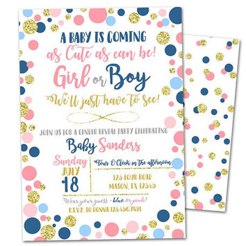 Gender Reveal Baby Shower Invitation - navy He or She Gender Reveal Party Invitation - Cute as can be gender reveal invitation - Boy or Girl