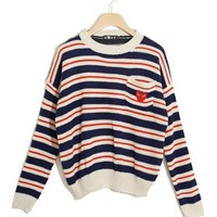 @Free Shipping@ Dark Blue Ladies Knitting Sweater One Size niya040dbl from Voguegirlgo
