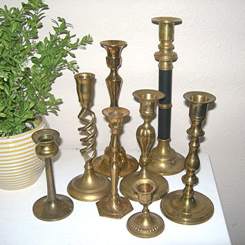 Brass Candle Holders - Mixed Vintage Lot of 8 Different Styles and Sizes - Perfect for Weddings - Home & Mantle Decor - Christmas Decor