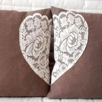 Heart pillow cover SET of 2 , heart pillows,  lace pillows, lace throw pillows,