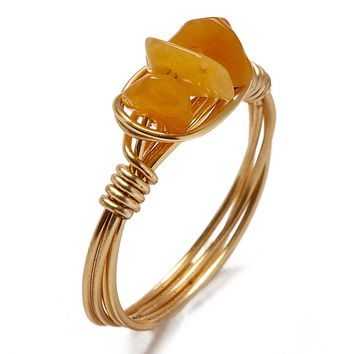 Wire Wrapped Stone Rings - Triple Orange Stones