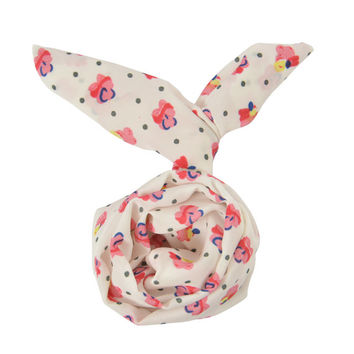 White Pink Flower Dot Vintage Retro 60's 50's Hippie Bun Wired Headband Twist Wraps Hair band Bow Womens Girl Accessory (#HBS-704-FLWHT)