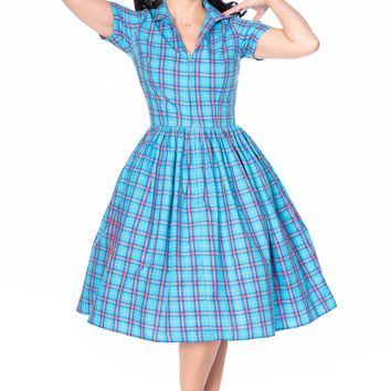 Francis Dress in Blue and Pink Plaid