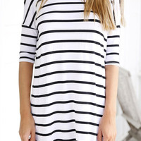 White and Black Striped Mini Dress