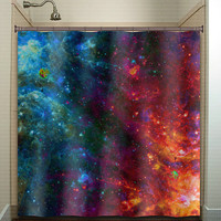 Fire Ice Nebula Planet Outer Space Galaxy shower curtain bathroom decor fabric kids bath window curtains panels bathmat valance