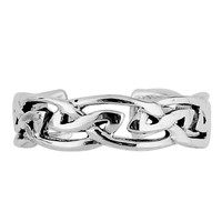 Sterling Silver Rhodium Plated Trinity Knot Cuff Style Adjustable Toe Ring