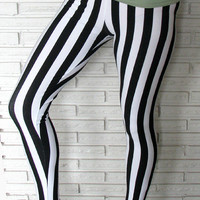 Black and White Striped Leggings, Wide Stripes, Cirque Aerial Pants, Custom