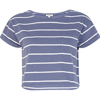 River Island Womens Blue and white stripe cropped t-shirt