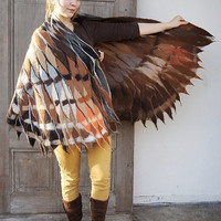Impressive wing scarf, nuno felted brown owl winged scarf, felt poncho, bochemian fashion, wearable art . OOAK