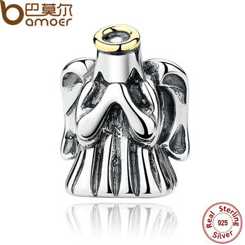 BAMOER New 925 Sterling Silver Fashion Romantic Divine Guardian Angel Protective Charms Fit Bracelets Accessories PAS276