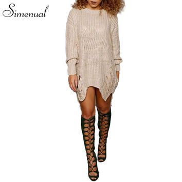 2016 New autumn long women's sweaters and pullovers fringe ripped vintage sweater dress slim long-sleeve knitted jumper pullover