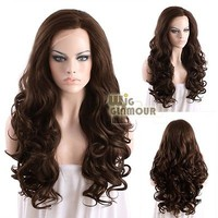 "Long Curly 26"" Mixed Brown Lace Front Wig Heat Resistant"