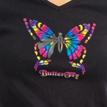 Vintage 90's Rainbow Butterfly Top - XS/S/M