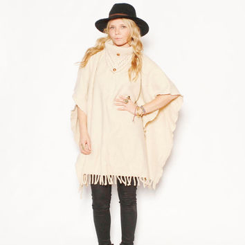 Vintage Mexican Serape Wool Poncho,  Mexican Blanket Cape