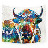 Society6 Colorful Buffalo Art Sacred By Sharon Cu Wall Tapestry