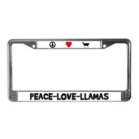Peace-Love-Llamas License Plate Frame by cafepets- 79346615