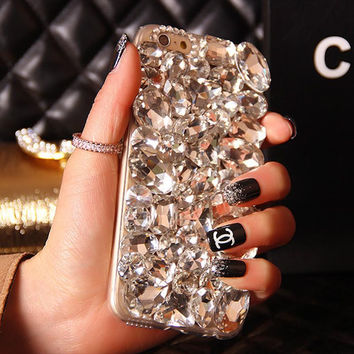 Bling Crystal Rhinestone Diamond Phone Case Cover For Iphone 6 Plus 7 5S 5C 4S Samsung Galaxy Note 5 4 3 2 S6 Edge Plus S5 S4 S3