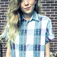 Vintage Blue and White Plaid and Reddish Pink and Green Hearts Oversized Button Up Blouse