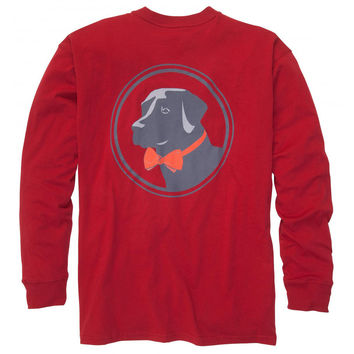 Original Logo Long Sleeve Tee Shirt in Madras Red by Southern Proper