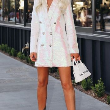 I've Got Your Number White Purple Sequin Long Sleeve Dress Double Breasted Blazer Jacket Outerwear