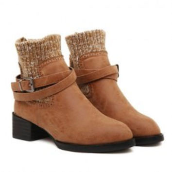 Stylish Women's Sweater Boots With Chunky Heel and Buckle Design
