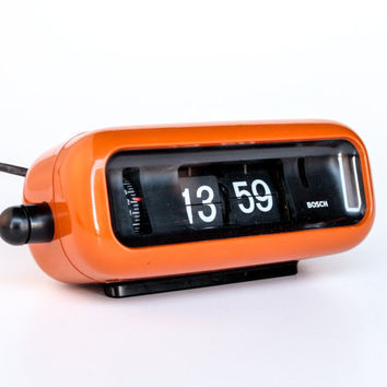 Orange Vintage Flip Clock  Alarm Clock, Model UDW2 by Bosch, 70's Germany