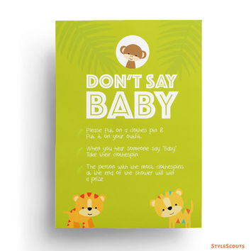 Monkey Baby Shower Games Printable - Safari baby shower game - Don't Say Baby Clothespin game