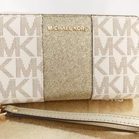 Michael Kors Jet Set Travel Center Stripe Wallet Vanilla MK Gold Phone Wristlet