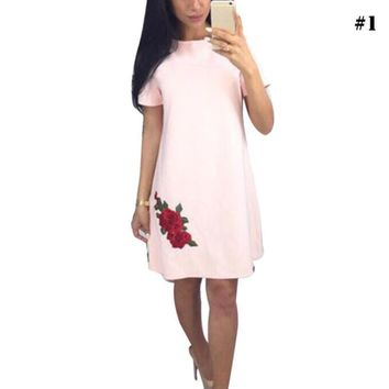 Fashion Rose Appliques Simple Style Straight Dress Woman O neck Short Sleeve Casual Dresses Party Mini Dresses