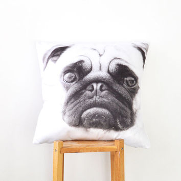 "Fathers Day, Pug Pillow, Decorative Pillows, Kids Pillow, French Bulldog Throw Pillow, Cushion Cover, Accent Pillow, Dog Pillow 16"" x 16"""