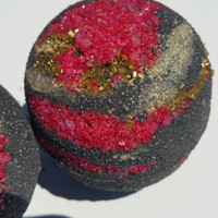 Rubies and Gold Black Bath Bombs. Black Bath Bombs. Black Water. Dead Sea Salts. Goth. Detoxify. Etsy. Activated Charcoal. Bath Fizzies.