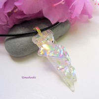 All that Glitters Handmade Clear Dichroic Glass Jewelry Pendant