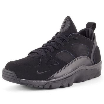 Mens Nike Air Trainer Huarache Low Mesh & Synthetic Black Shoes Trainers Casual