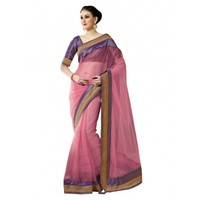 Pink Net Wedding Saree With Blouse - TheEthnicWear