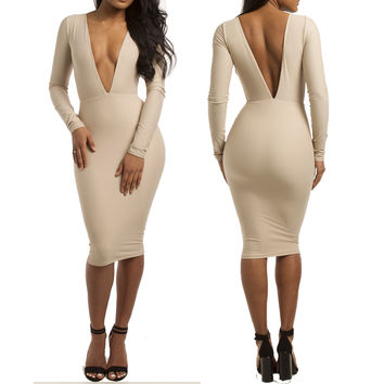Deep V-neck Long Sleeve Bodycon Midi Dress