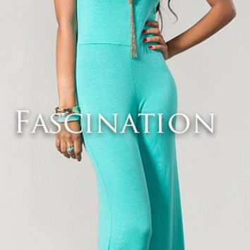 Solid Halter Jumpsuit - Green
