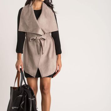 Gemma Grey Sleeveless Coat