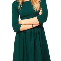 Maykool Women's Classy Design Half Sleeve Ruched Simple Solid Color Casual Dress