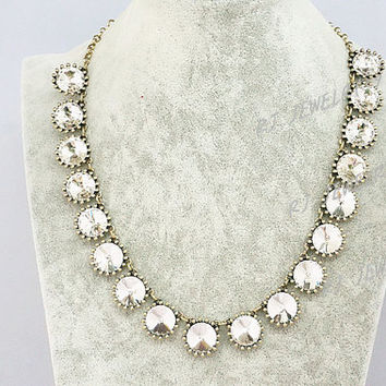 Vintage Clear White Gem Bib Bubble Statement Necklace,Crystal Bling Necklace,Choker, Party Personalized Bridesmaids Jewelries, SN1328