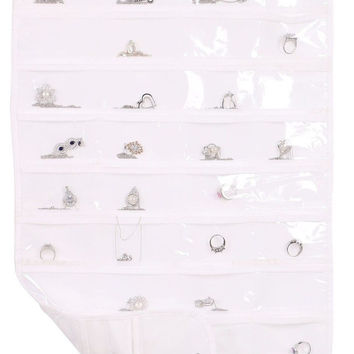 Simplicity 80 Pockets Hanging Jewelry Organizer Dual Sides Storage BagWhite