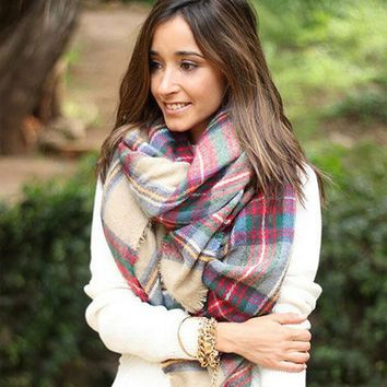 Cashmere Style Thicken Ladies Plaid Scarf [120845991961]