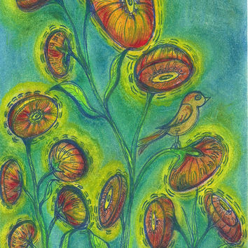 Original Mixed Media Drawing, Abstract Art, Oil Pastel and Ink Drawing, Birds, Flowers, Green, Yellow, Blue, OOAK