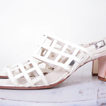 Bally Strappy Geometrical White Leather High End Designer Sandals Size 39