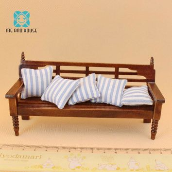 Miniature Dollhouse wooden bench mini toy doll house furniture long chair with pillow 1:12 scale