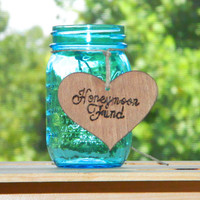 Honeymoon Fund Wedding Decoration Heart - Wooden Rustic Shabby Chic - Mason Jar Decor