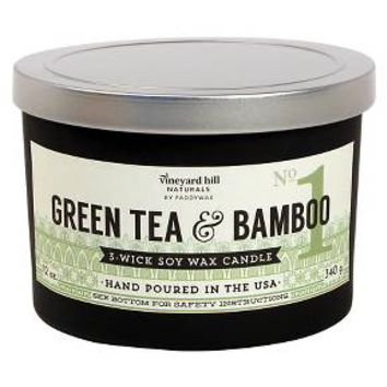 3 Wick Candle with Metal Lid Green Tea & Bamboo - 12 oz : Target