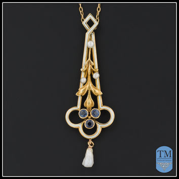 Art Nouveau 14k Gold Enamel & Sapphire Necklace by the Hagerstrom Co. of Newark
