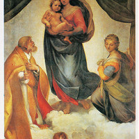 Raphael (1483-1520) Vintage Postcard «Madonna di San Sisto» - Printed in the USSR, «Fine Art», Moscow, 1989