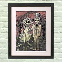 Gothic Art Print Ghost Wedding 8x10 giclee Day of the Dead Poster Bride, Groom Couple in Love